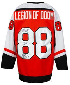 Lindros Renberg LeClair Signed Custom Orange Legion of Doom Jersey JSA ITP