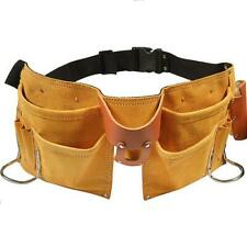 11 POCKET LEATHER TOOL BELT Carpenter Construction Pouch w/QUICK RELEASE BUCKLE