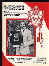 Tonny Van Dommelen Fism Genii Magicians Magazine Nov. 1978 - contents in post