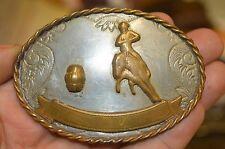 Vintage Barrel Racing Cowboy Western Award Silver Plated Brass Belt Buckle Rare