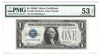1928D $1 SILVER CERTIFICATE, PMG ABOUT UNCIRCULATED 53 EPQ BANKNOTE, I/B BLOCK