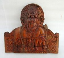 Vintage Old Wood Hindu God Vishnu Incarnation Dattatreya Figure Panel Plaque