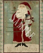 Primitive Christmas Belsnickle Santa Folk Art Feather Tree Snowman Print 8x10