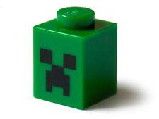 LEGO 21102 - Brick 1 x 1 with Black Minecraft Creeper Face Pattern - Green