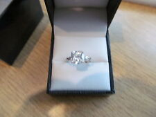 9ct White Gold Ladies CZ Dress Ring Size M - New