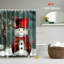 180cm*180cm Merry Christmas Snowman Waterproof Bath Shower Curtain Hooks Set