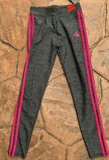 adidas girls 3 Stripe Grey Athletic Tights size Large