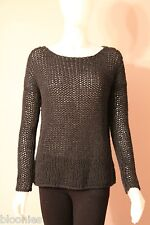 Vince. Loose Knit Black Chunky Wool String Sweater Small S (V039673413)