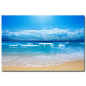 Sea Beach Skyline Nature Silk Poster Wall Pictures For Living Room 24x36 inch