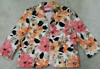 Alfred Dunner~Woman Size 20~Floral Print Open Front Casual Jacket Blazer Lined.