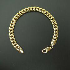 14K Yellow Gold 7.5 mm Miami Cuban Bracelet Lobster Clasp 8″