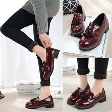 Women Platform Tassel Patent Leather Shoes Creeper Slip Loafers Flat Heel Oxford