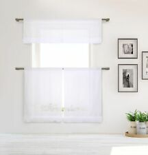 Cotton Shabby Chic White 3-Pc Curtain Set White Pleated Ruffles Valance Tiers