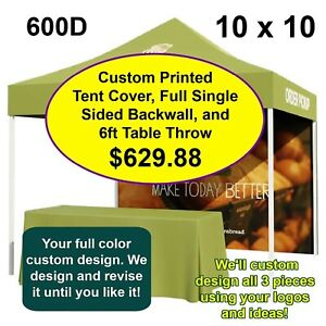 Custom Print Combo 10 x 10 Tent Cover 600D With Full Backwall & 6ft Table Throw