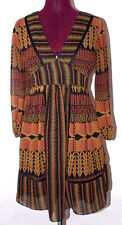 BCBGeneration Womens Dress Size 2 Geometric Brown V Neck Retro Abstract Party