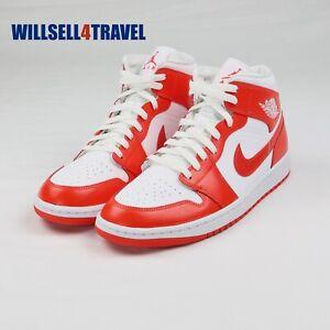 Nike Air Jordan 1 Mid Syracuse White Habanero Red Women's Size 11.5 BQ6472-116