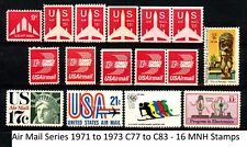 Air Mail Issues 1971 to 1973 Complete Set with Coil Pairs MNH Scott's C77 to C83