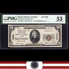 1929 $20 MOUNT JACKSON, VA NATIONAL BANK NOTE PMG 53 SHENENDOAH COUNTY  D000233A