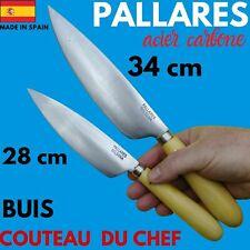 COUTEAU DE CHEF CUSINE PALLARES ESPAGNE CARBONE LAME HAUTE MANCHE BUIS