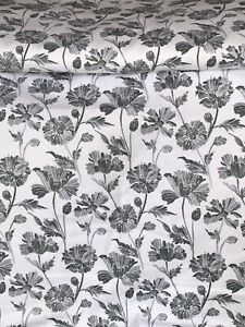 """100% Brush Cotton Flannel White Grey Floral Fabric...Width 43"""" price 1 meter"""