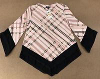 Alfani Women's Size Small Petite Pink Black Long Sleeve Pointed Hem Top NWT