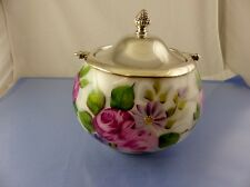 PAINTED ROSES MILK GLASS BISCUIT BARREL COOKIE JAR WITH Plated COVER & HANDLE