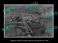 OLD LARGE HISTORIC PHOTO BALLYCLARE NORTHERN IRELAND TOWN AERIAL VIEW c1930
