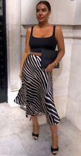 Ladies H&M Studio Zebra Print Midi Satin Skirt Uk 8 Brand New With Tags