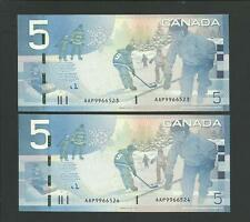 Bank of Canada 2X5 dollars 2006 printed 2009 UNCIRCULATED  AAP 9966523/524