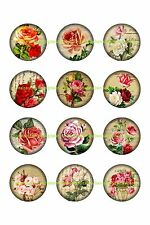 "ROSES  BOTTLE CAP IMAGES 30 1"" CIRCLES $3.45 *****FREE SHIPPING*****"