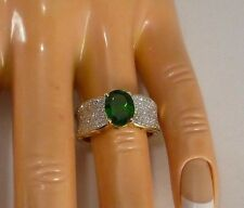 RUSSIAN CHROME DIOPSIDE & DIAMONDS - 10K YELLOW GOLD RING - SIZE 6