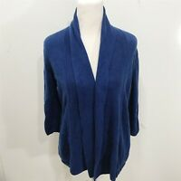 TALBOTS Size S Cardigan Sweater Solid Blue Open Front Cotton Blend Long Sleeve