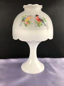VINTAGE WESTMORELAND CRYSTAL MIST GLASS FAIRY LAMP W/ 3 SIDED BIRD DECORATION