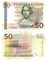 UNC SWEDEN 50 Kronor (2004) P-64a Banknotes Paper Money