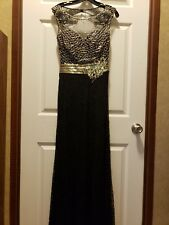 Tony bowls size 4 prom/homecoming/formal full length dress black and gold
