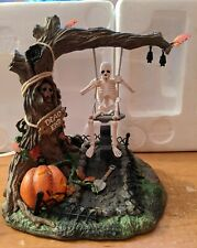 Department 56 Halloween Village Animated Swinging Skeleton Tree with Pumpkin