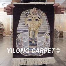 YILONG 1.5'x1.8' Handknotted Pure Silk Rug Egypt Pharaoh Home Tapestry L109A