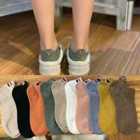 Cartoon Embroidered Expression Women Cotton Socks Fashion Ankle Funny Socks Hot-