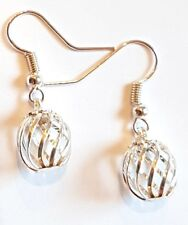 Hand Made Silver Colour Open Fretwork Ball Earrings HCE422