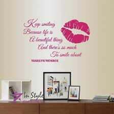 Vinyl Decal Keep Smiling... Marilyn Monroe Quote Lips Print Art Wall Sticker 641