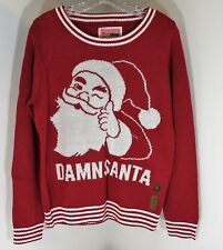 Tipsy Elves Women Medium Red Damn Daniel Santa Talking Ugly Christmas Sweater