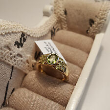 Stunning AA Peridot  Ring  in 14ct Gold over Sterling Silver 'P'
