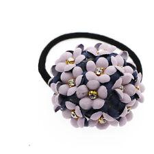 Violet Rond Fleurs Femme Fille Élastique Cheveux Bandeau Accessoires HA261