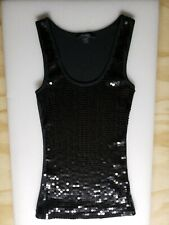 Ladies Express Black Sequin Tank Top Size Medium, Made in Hong Kong