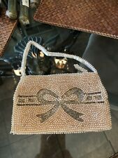 Vintage Ecru Beaded Pearl Soft Evening Bag with Handle Hand Beaded Made in Japan