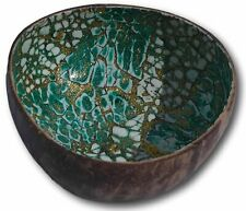 Stylish Coconut bowl with green lacquered interior