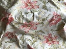 ANTIQUE FRENCH FLORAL COTTON FABRIC - RED YELLOW GREEN - 1930'