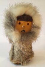 Vintage Eskimo Doll Made in Poland Sticker with Rabbit Fur Coat & Hat