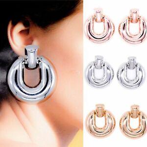 Rose Gold Silver Statement Chunky Round Stud Metal Drop Earrings Boho Jewellery