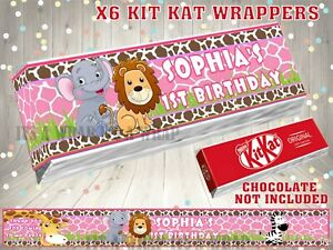 PERSONALISED Jungle Theme KIT KAT WRAPPER LABEL Party Bag Fillers PINK BLUE
